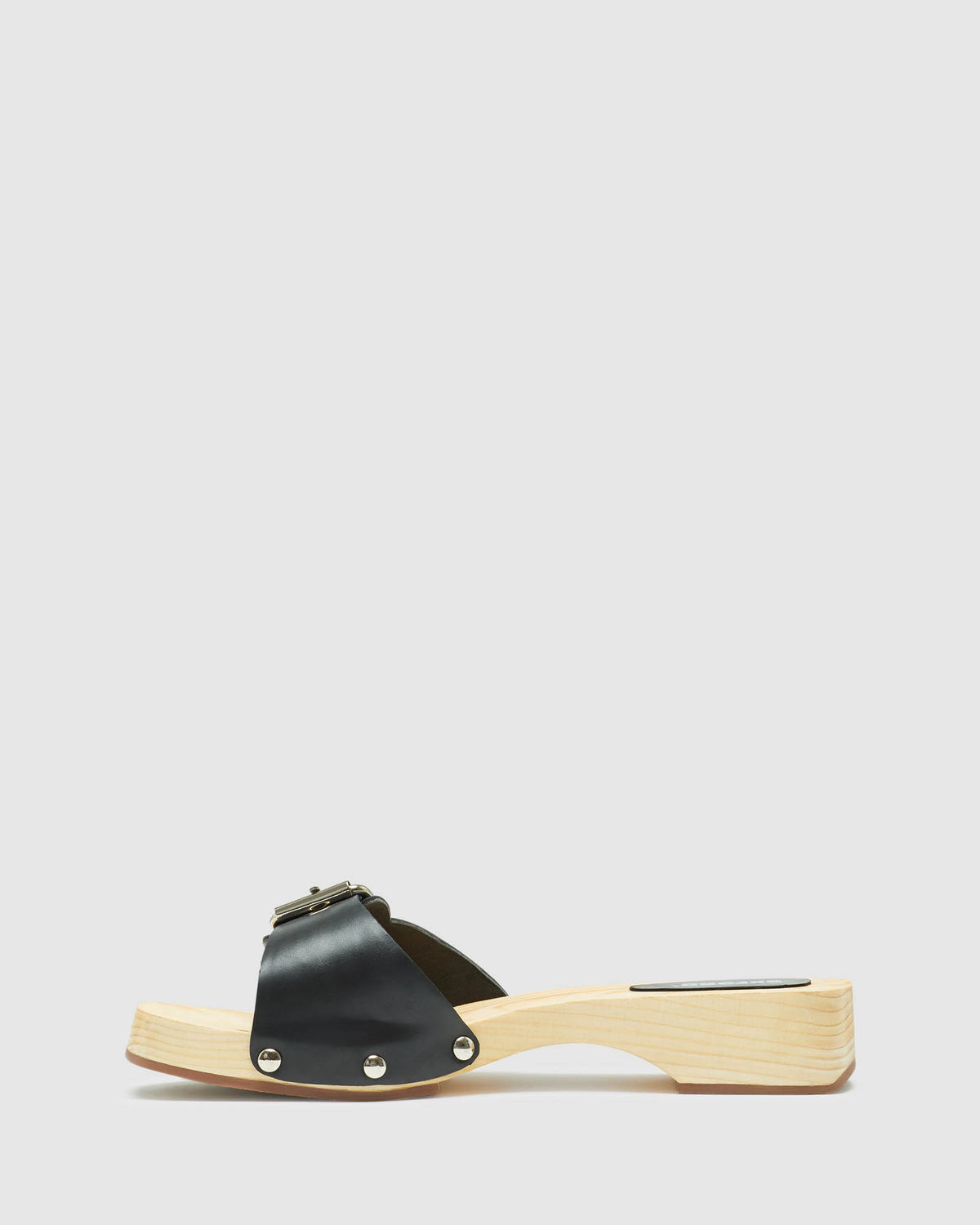 ALEGRA LEATHER SLIDE BLACK
