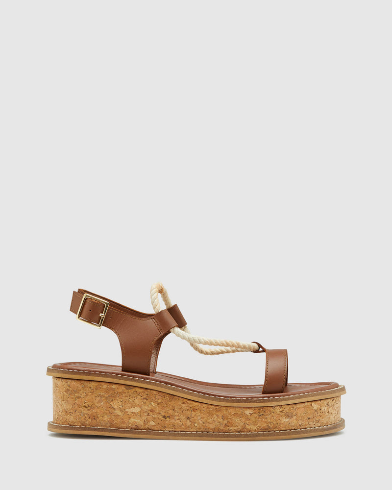 LEILANI LEATHER PLATFORM SHOE TAN