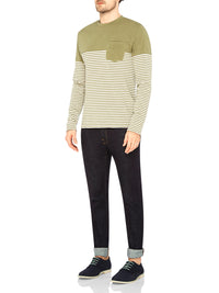 ALEX STRIPE L/S T-SHIRT KHAKI/WHT