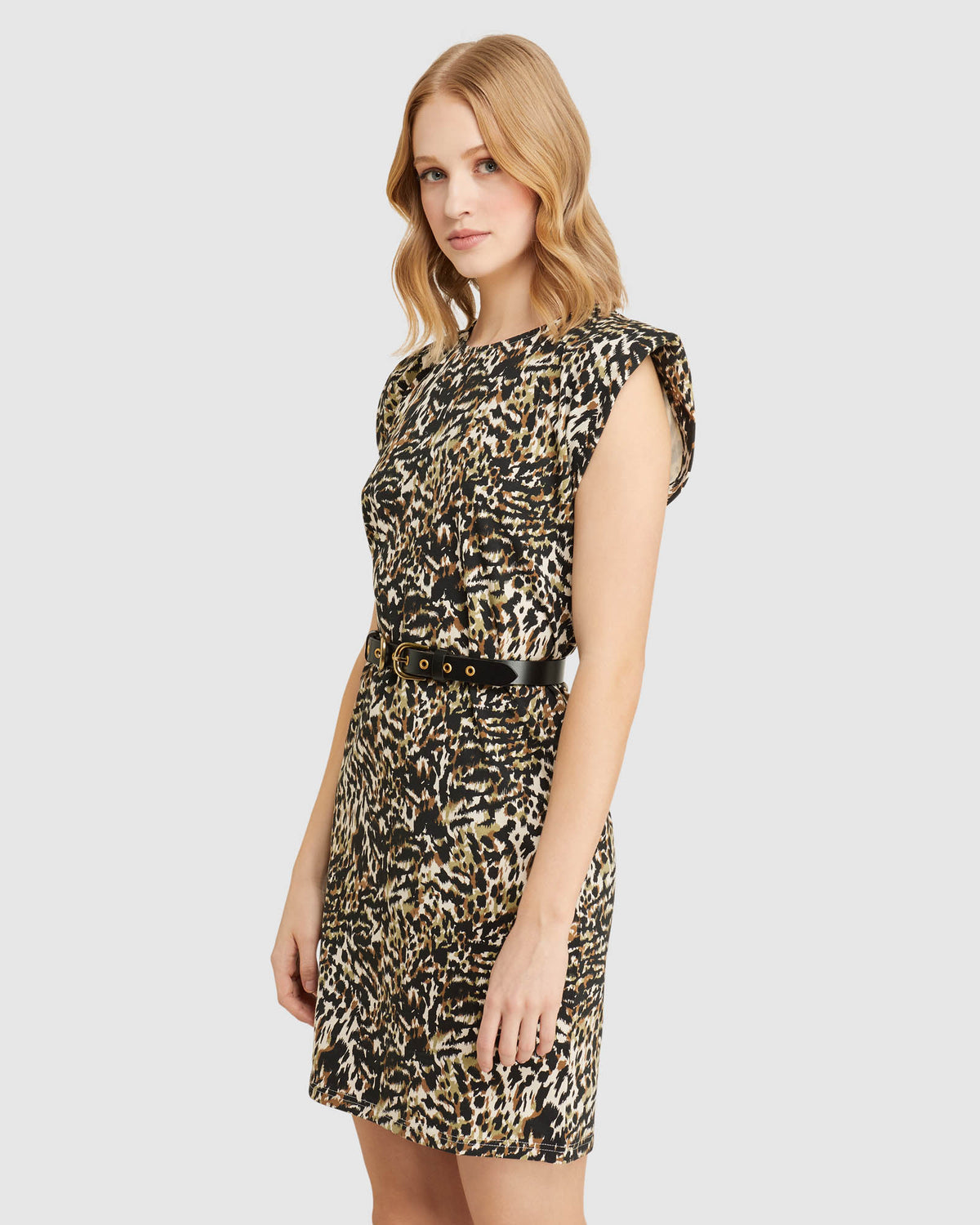 ELODIE ANIMAL PRINTED JERSEY DRESS NATURAL