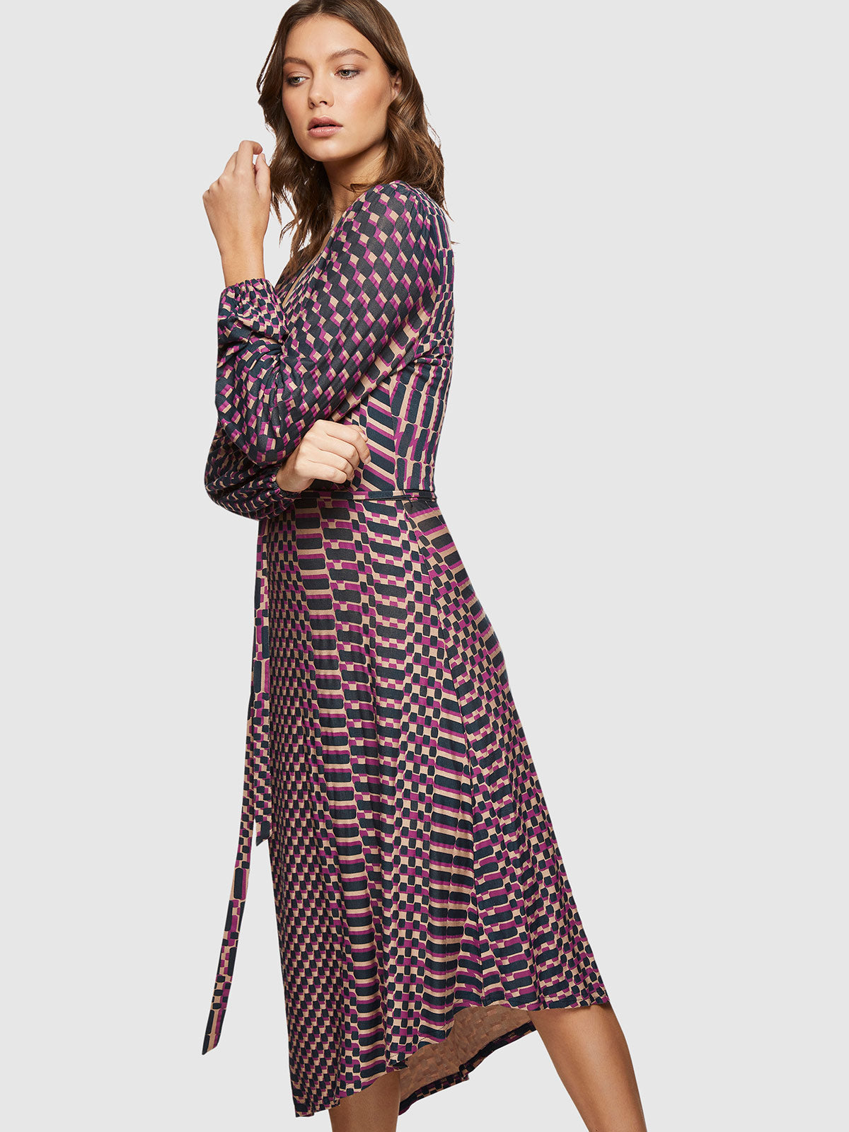 FION JERSEY PRINTED DRESS NAVY/WINE