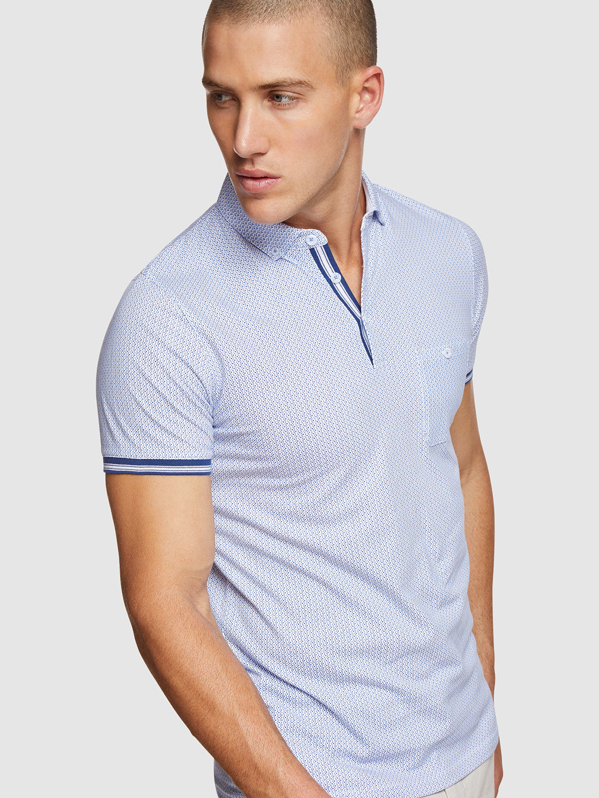 PERCY GEO PRINTED POLO BLUE