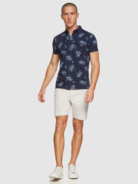 PERCY FLORAL PRINTED POLO NAVY