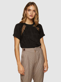 SANDRA LACE TRIM T-SHIRT