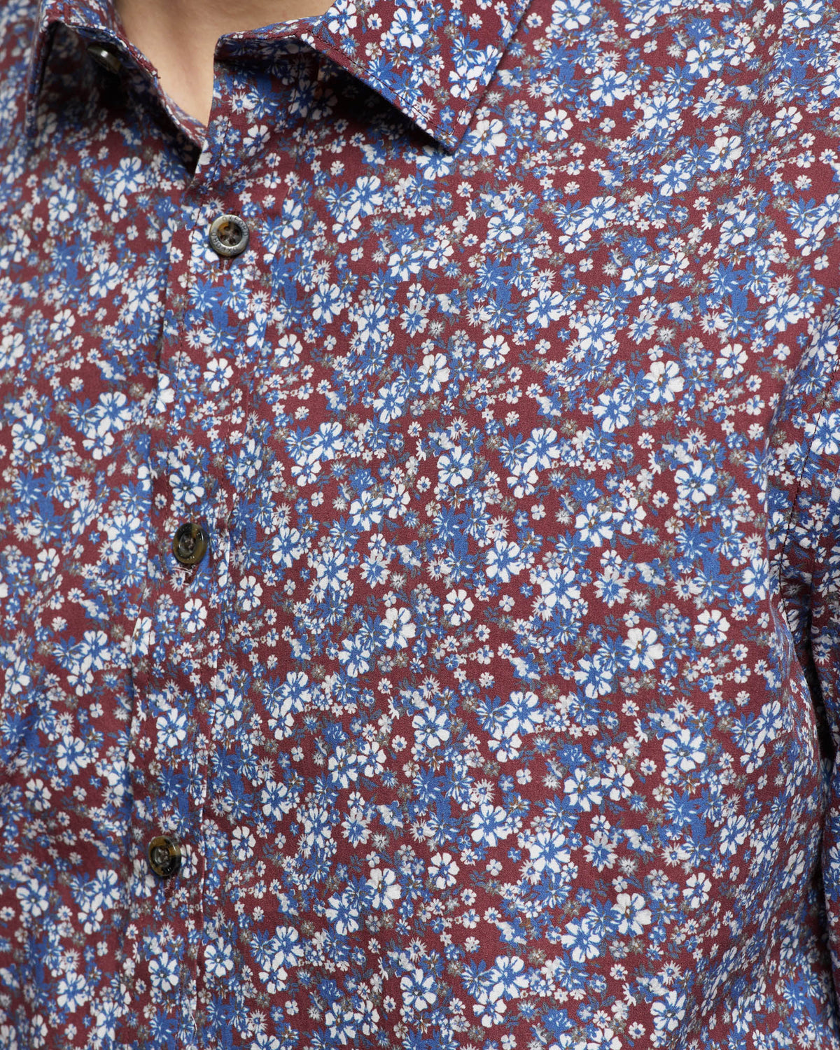 KENTON FLORAL PRINT SHIRT OXBLOOD