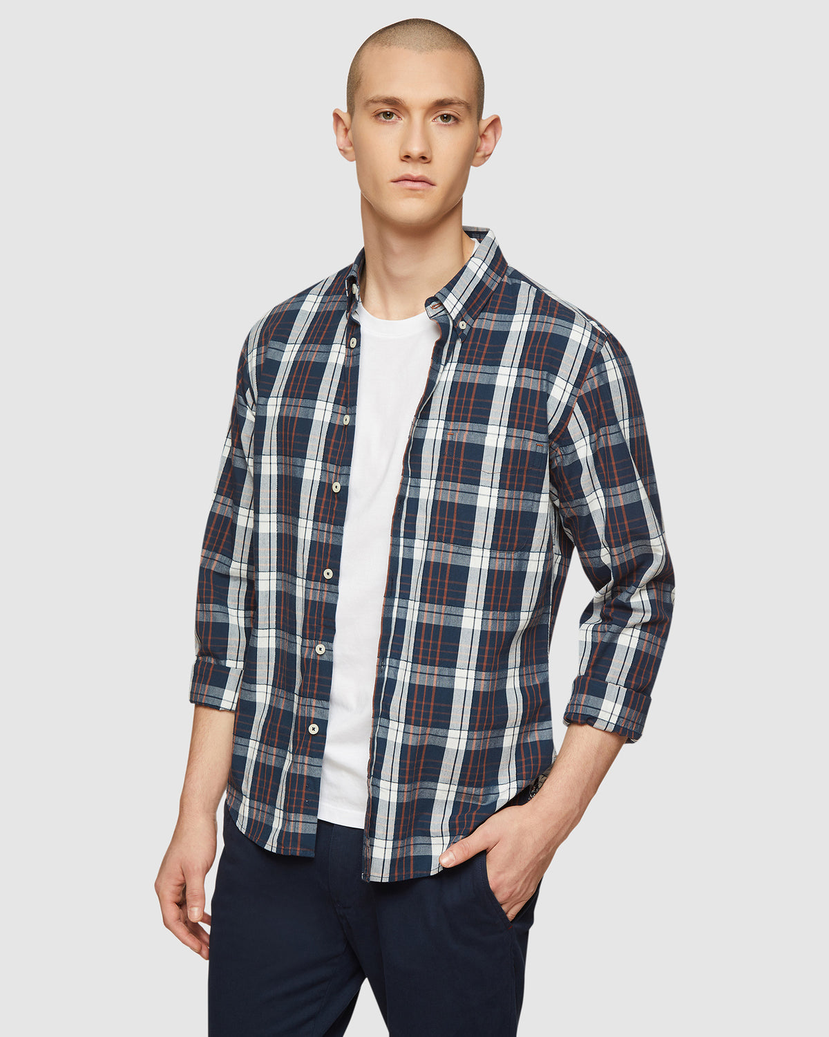 UXBRIDGE CHECKED SHIRT NAVY/TAN