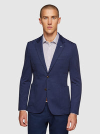 DRYDON HERRINGBONE KNITTED BLAZER BLUE