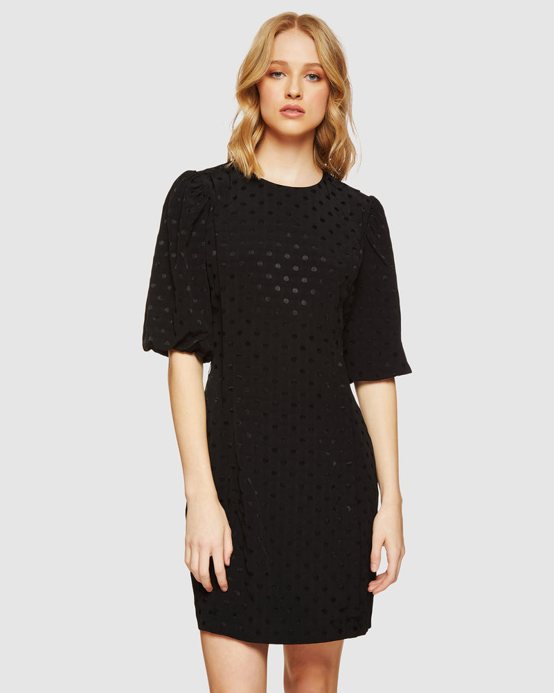 VERONICA JACQUARD SPOT DRESS BLACK