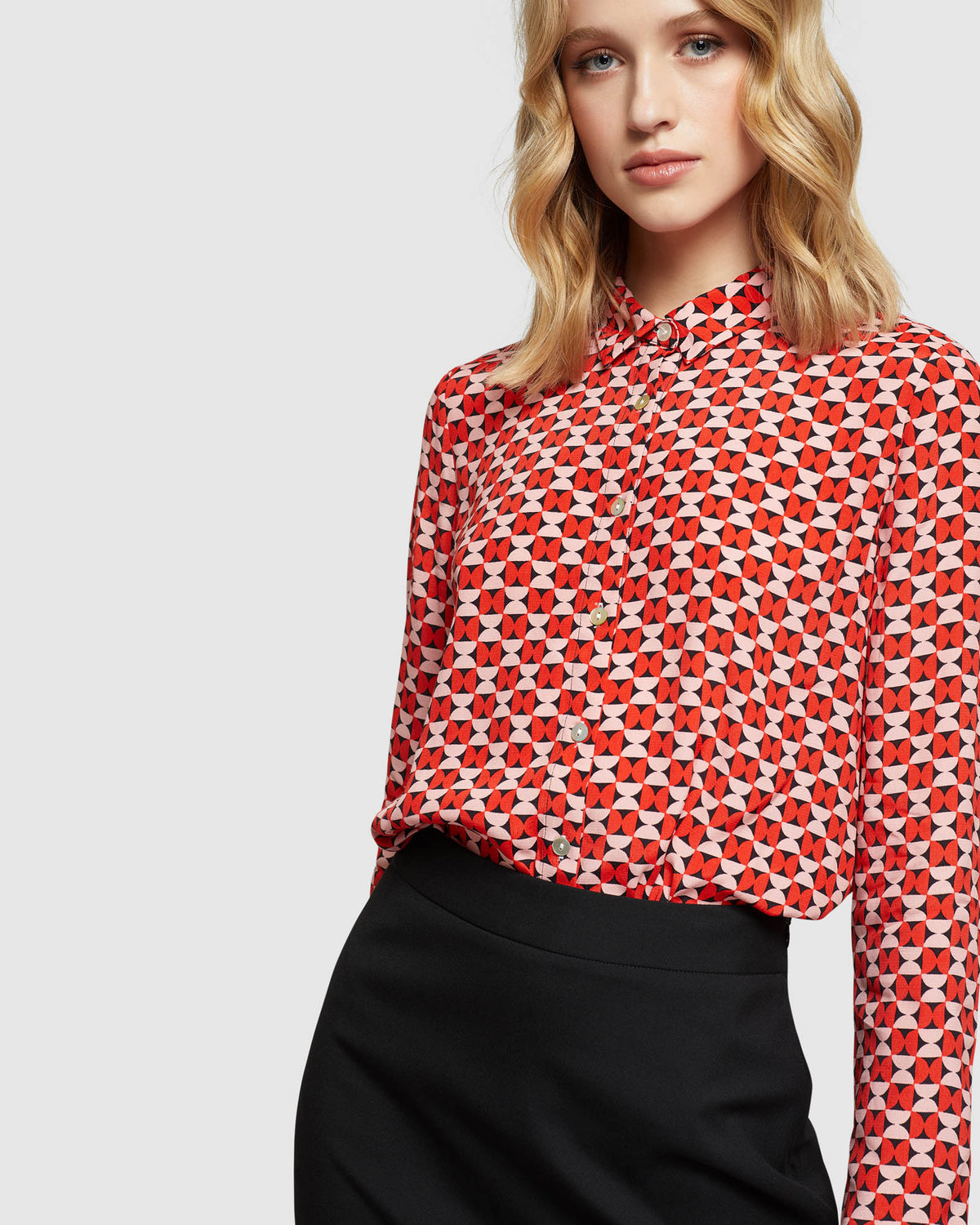 POPPY BUTTERFLY GEO PRINTED BLOUSE