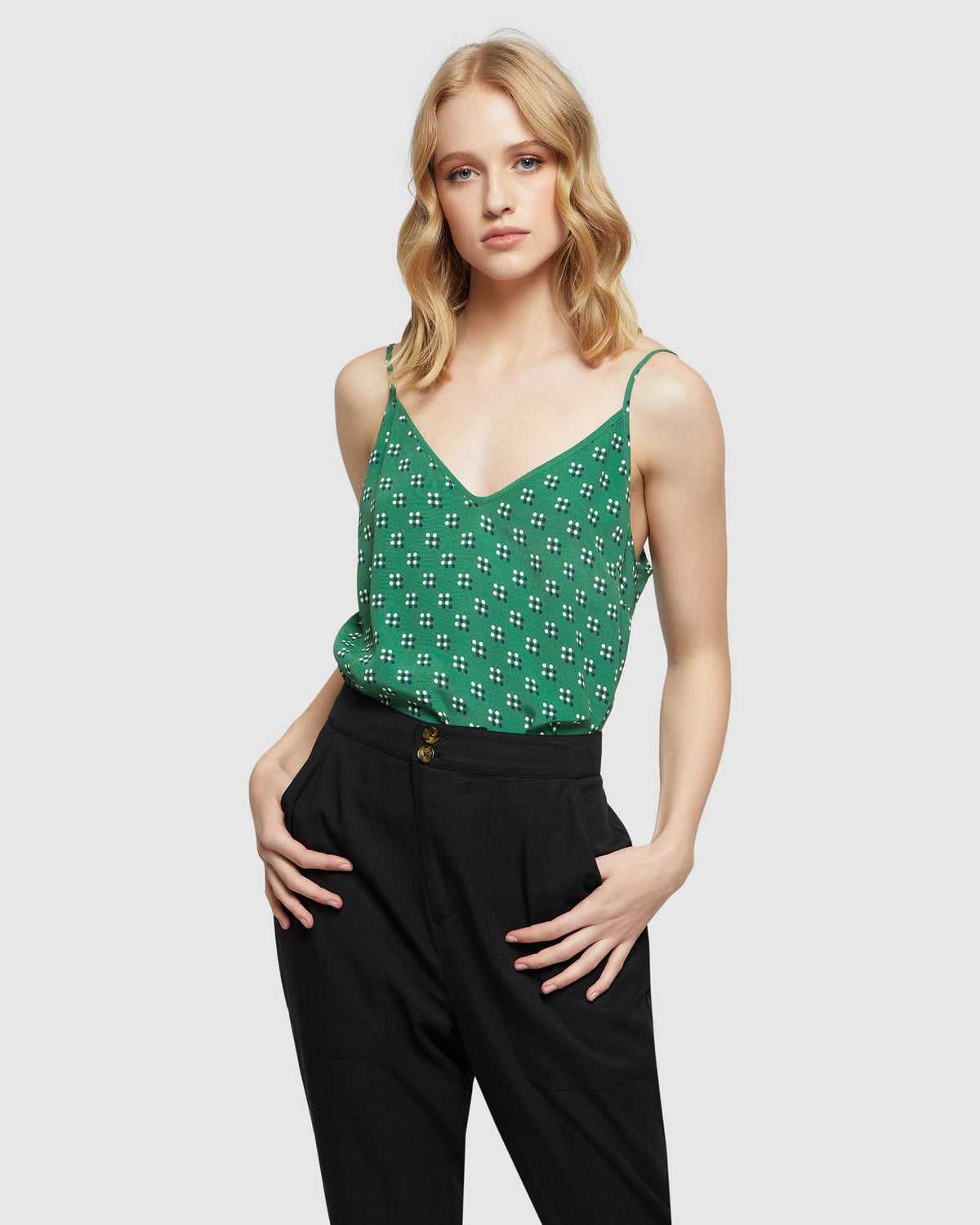 CAMERON GEO SPOT PRINTED CAMI GREEN