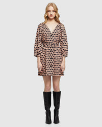 PEONY SPOT DRESS TAN/BLACK