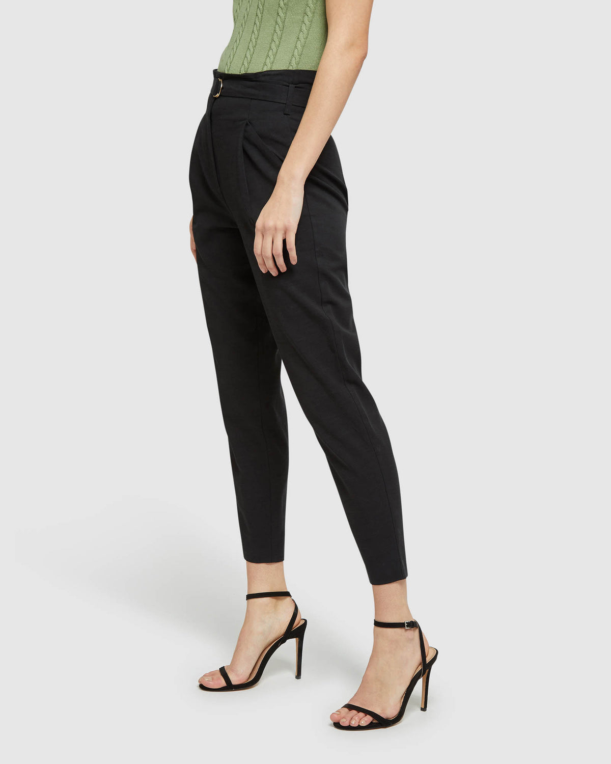 SLOANE BELTED PANTS BLACK