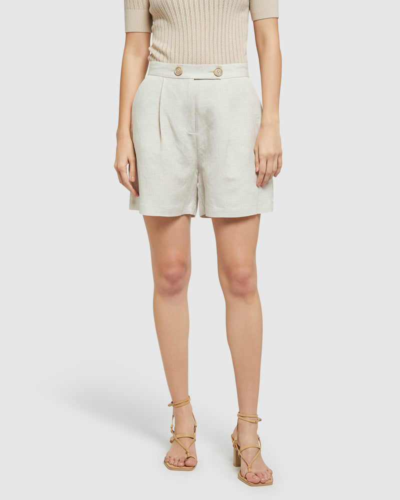 SASHA LINEN SHORTS NATURAL