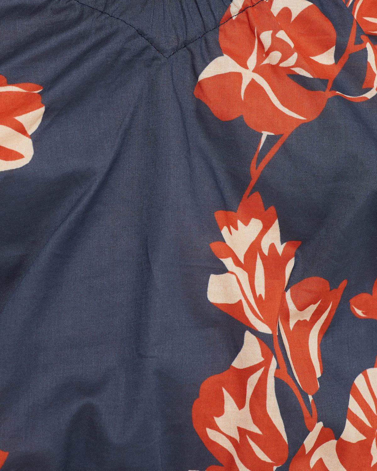 BILLY TROPICAL PRINT COTTON TOP NAVY/SPICE