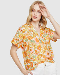 PIPPA RETRO FLORAL SHIRT PINK/GREEN MULTI