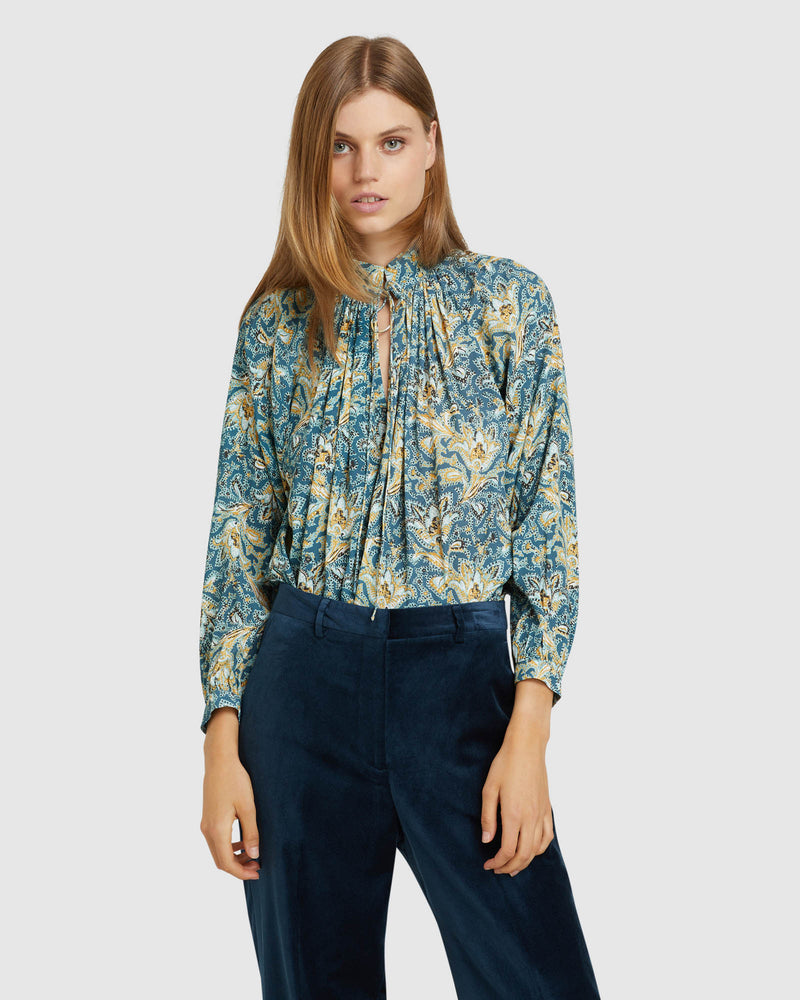 SANDY FLORAL PRINTED BLOUSE BLUE MULTI