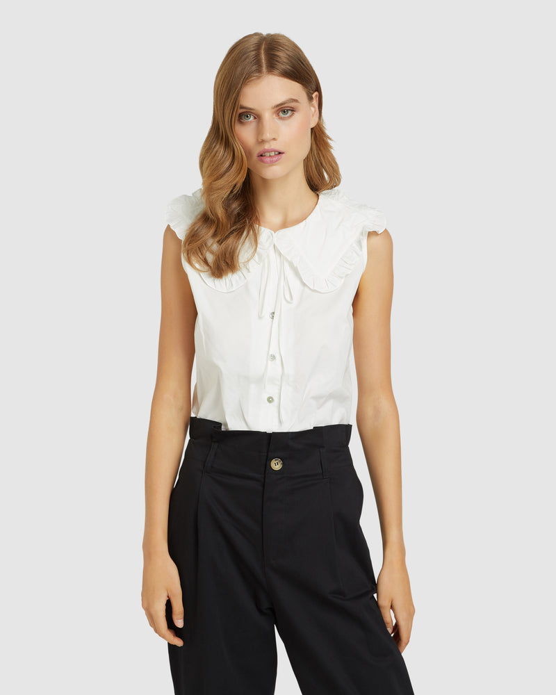 SKYE PANEL BLOUSE IVORY