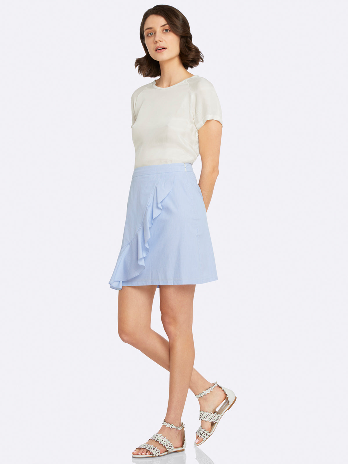 ERICA STRIPED RUFFLE SKIRT BLUE