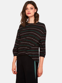 HANNAH STRIPED LOOSE TOP BLACK/WHITE/GREEN