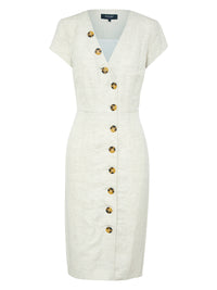 BECCY BUTTON UP DRESS FLAX