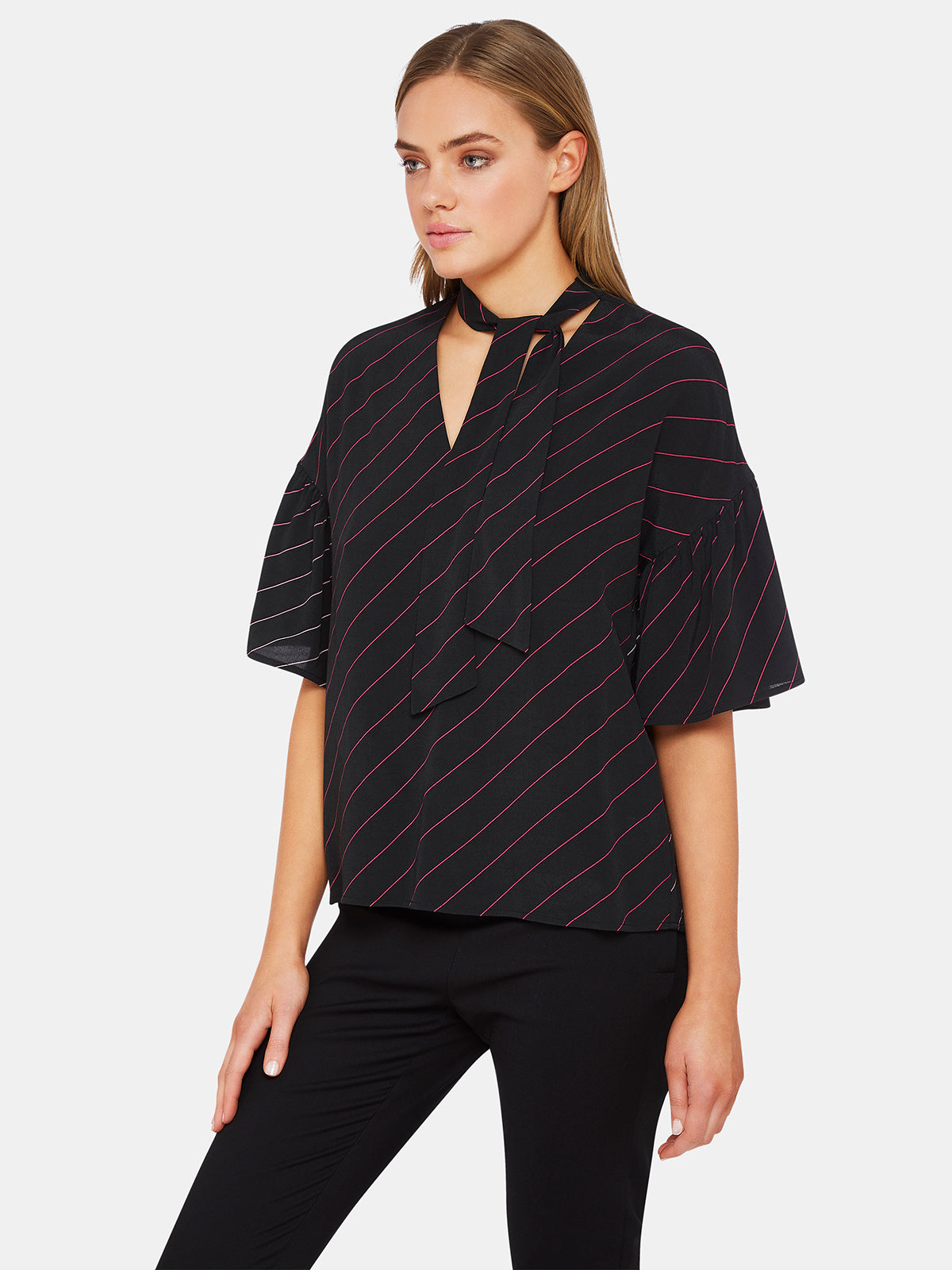 PERSIA SHORT SLEEVE STRIPED BLOUSEX