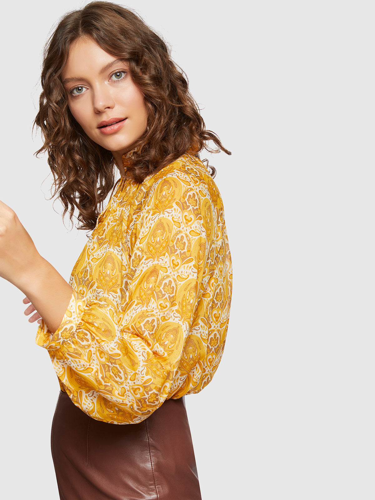 SANDY RETRO PRINT TUNIC TOP MUSTARD