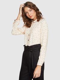 POPPY SQUARE PRINTED BLOUSE NUDE