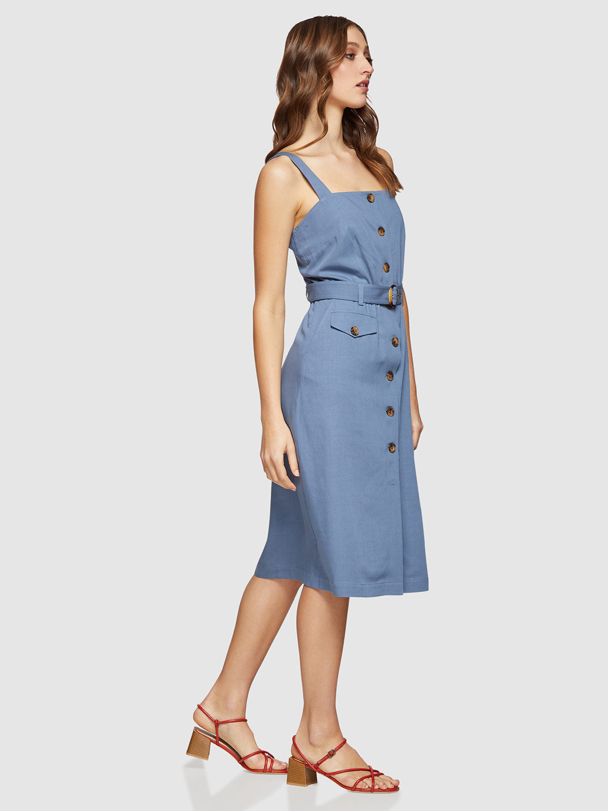 ISABEL BUTTON UP DRESS BLUE
