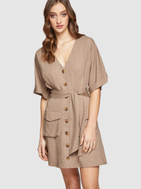 DAISY BUTTON UP DRESS KHAKI