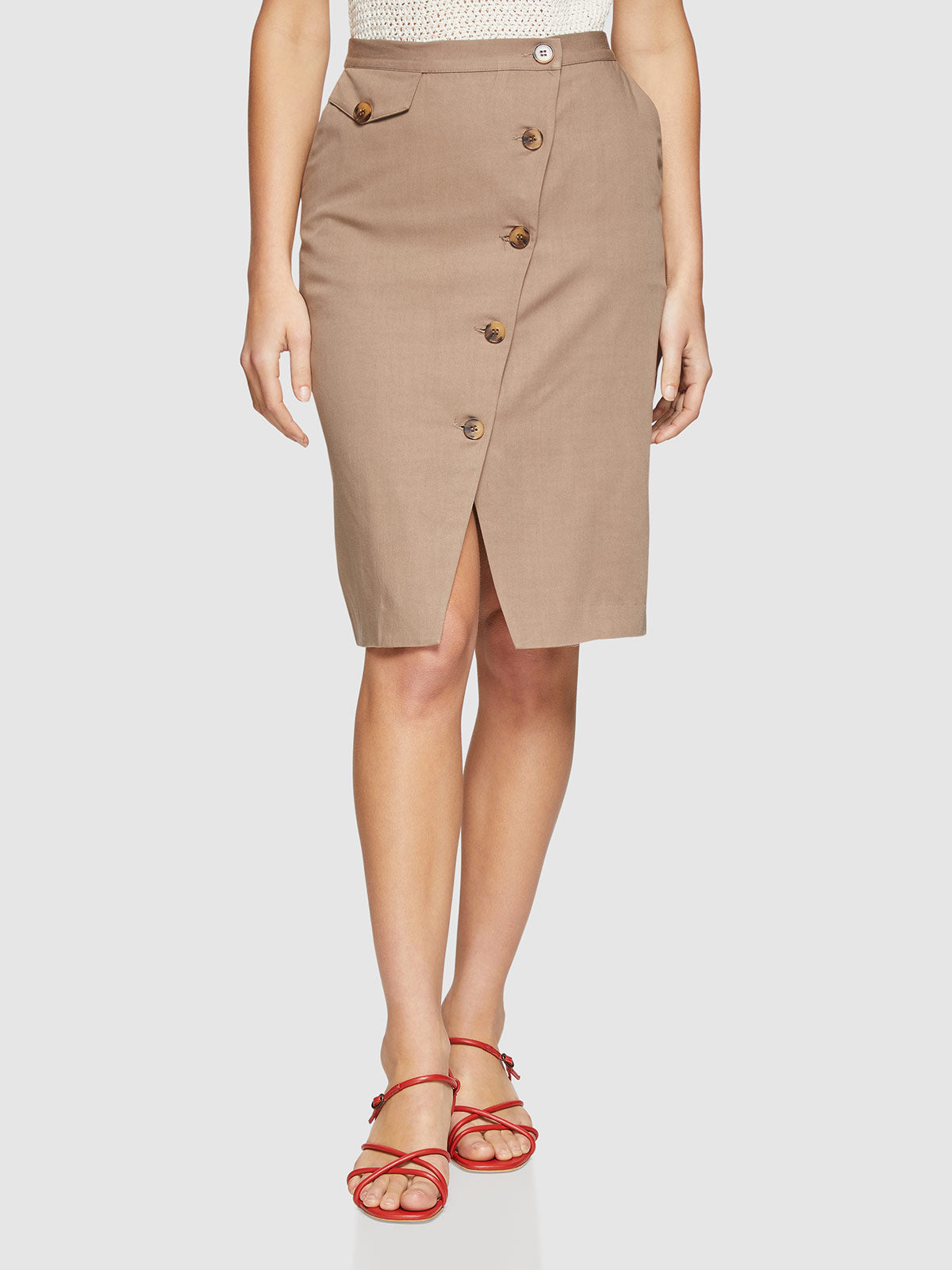 KELSEY BUTTON UP SKIRT KHAKI