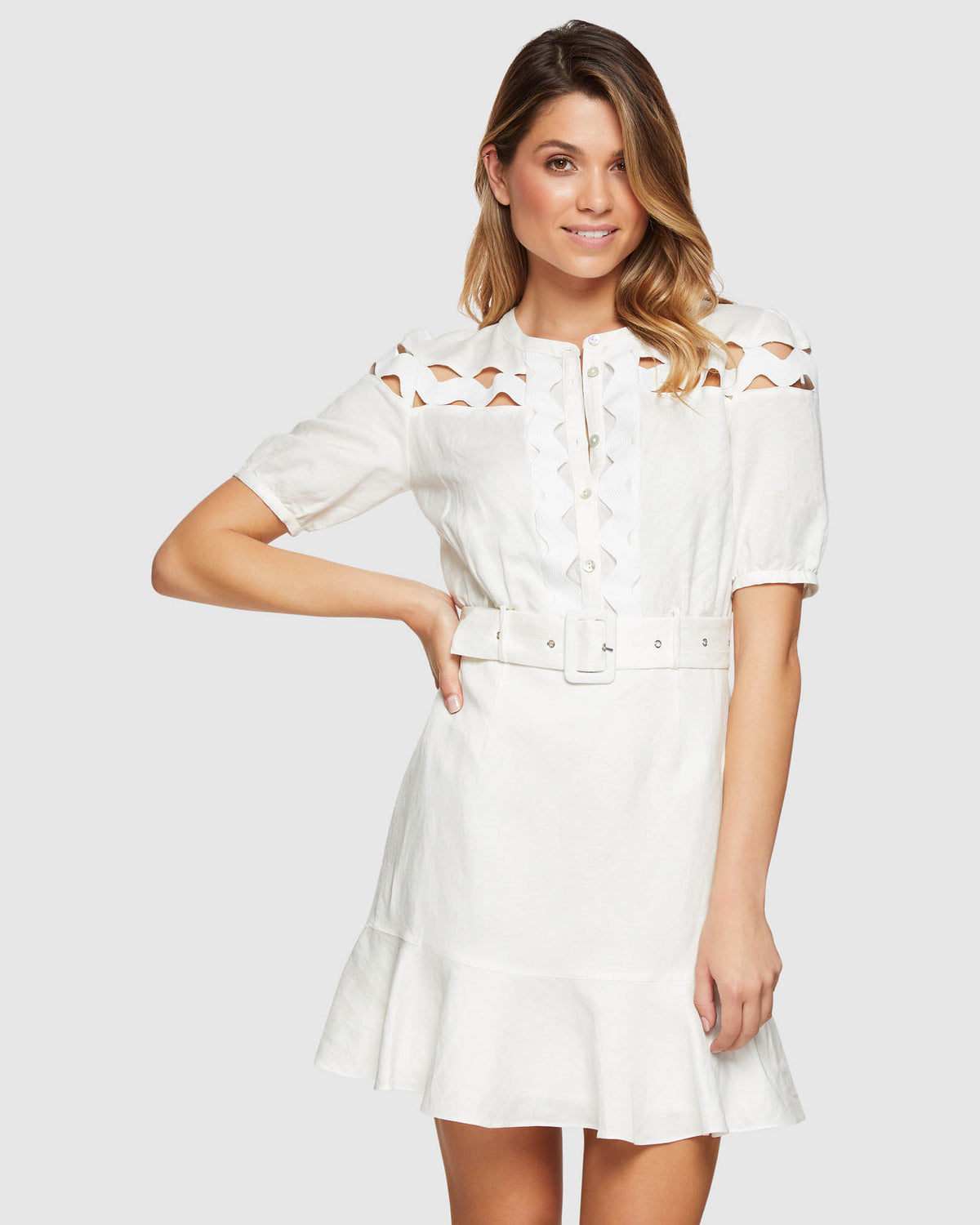 TASHA INSERT TRIM DRESS IVORY