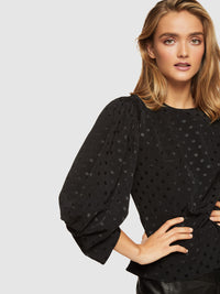NOELLE PUFF SLEEVE SPOT TOP BLACK