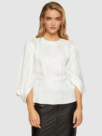 NOELLE PUFF SLEEVE JACQUARD TOP IVORY