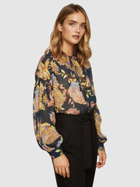 MIRABELLE NAVY FLORAL TUNIC TOP NAVY MULTI