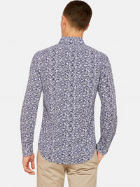 KENTON FLORAL PRINTED SHIRT NAVY/CHARCOAL