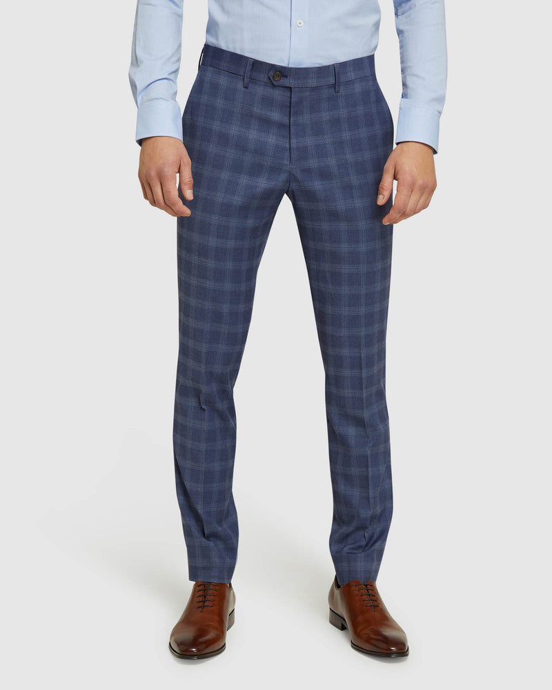 AUDEN ECO CHECKED SUIT TROUSERS BLUE CHECK