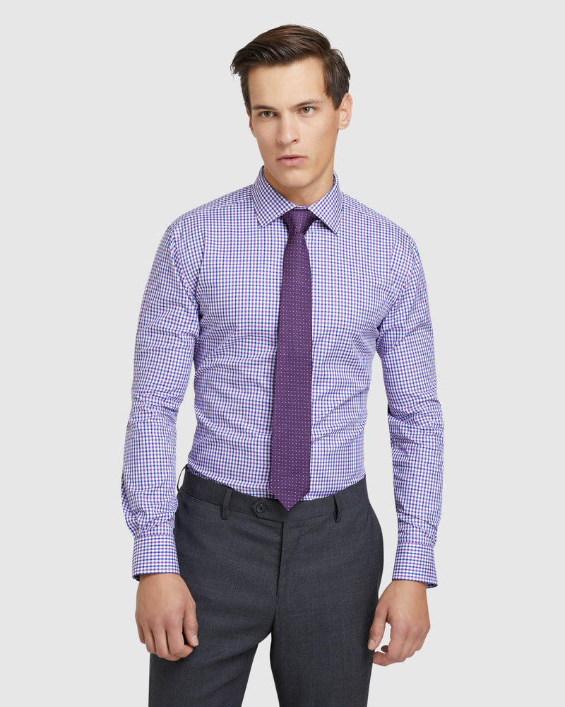 ISLGINTON CHECKED REGULAR FIT SHIRT PURPLE