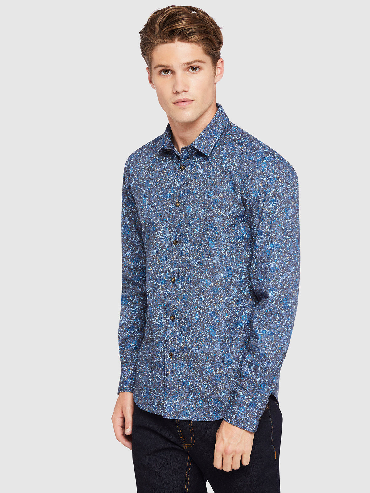KENTON PRINTED LUXURY SHIRT NAVY