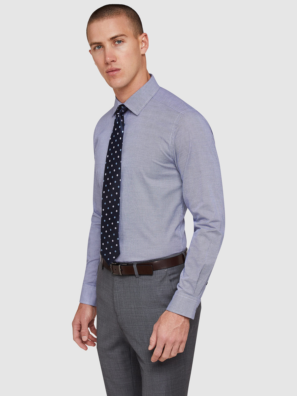 BECKTON HOUNDSTOOTH SHIRT NAVY