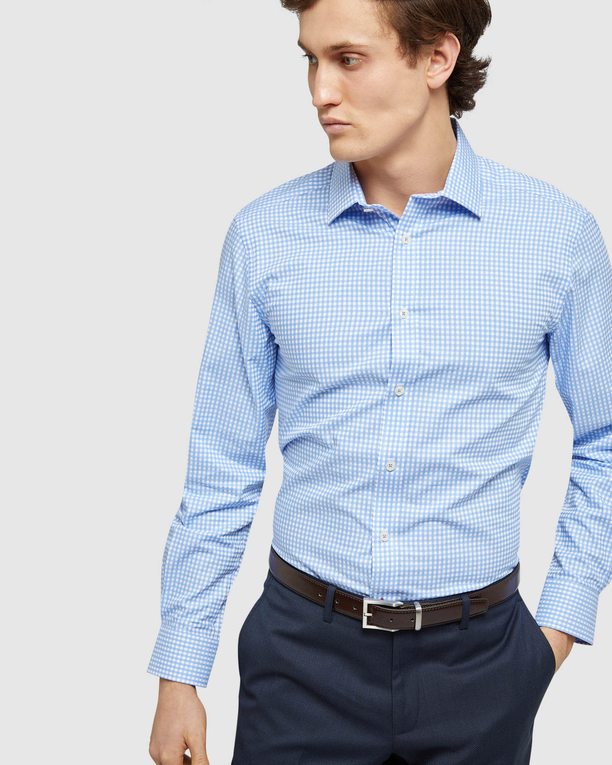 BECKTON DOBBY CHECKED SHIRT BLUE