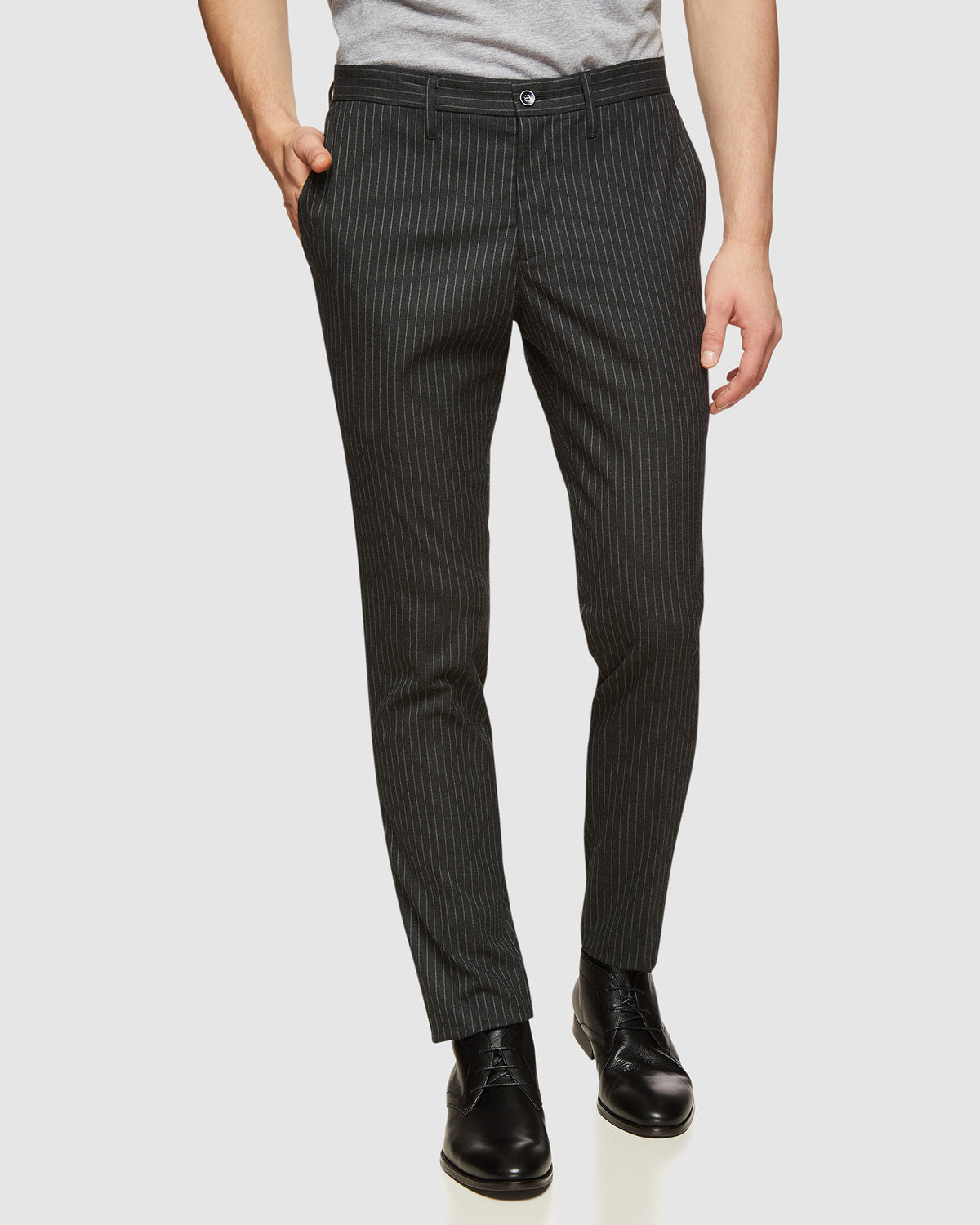 STRETCH STRIPED TROUSERS