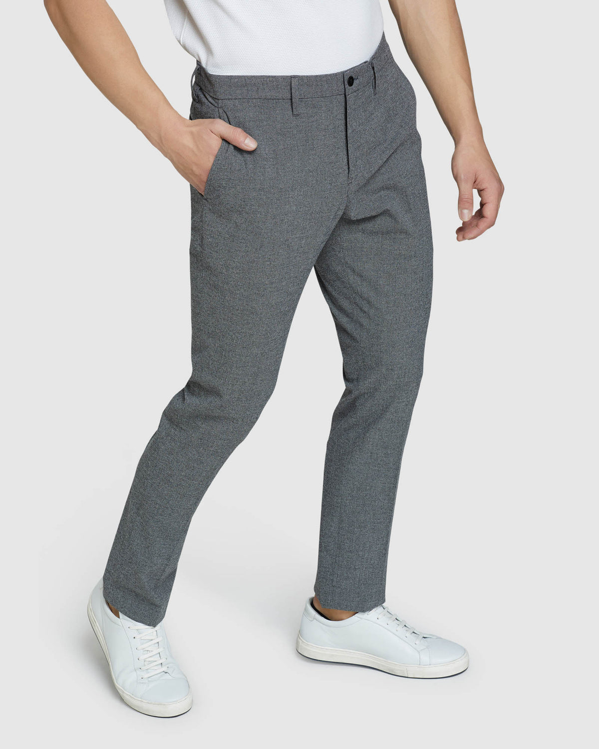 STRETCH TEXTURED TROUSERS GREY