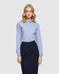 ANGEL STRIPED STRETCH SHIRT BLUE