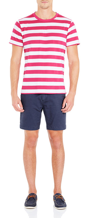 ELLIOT WIDE STRIPE T-SHIRT RASPBERRY/WHITE
