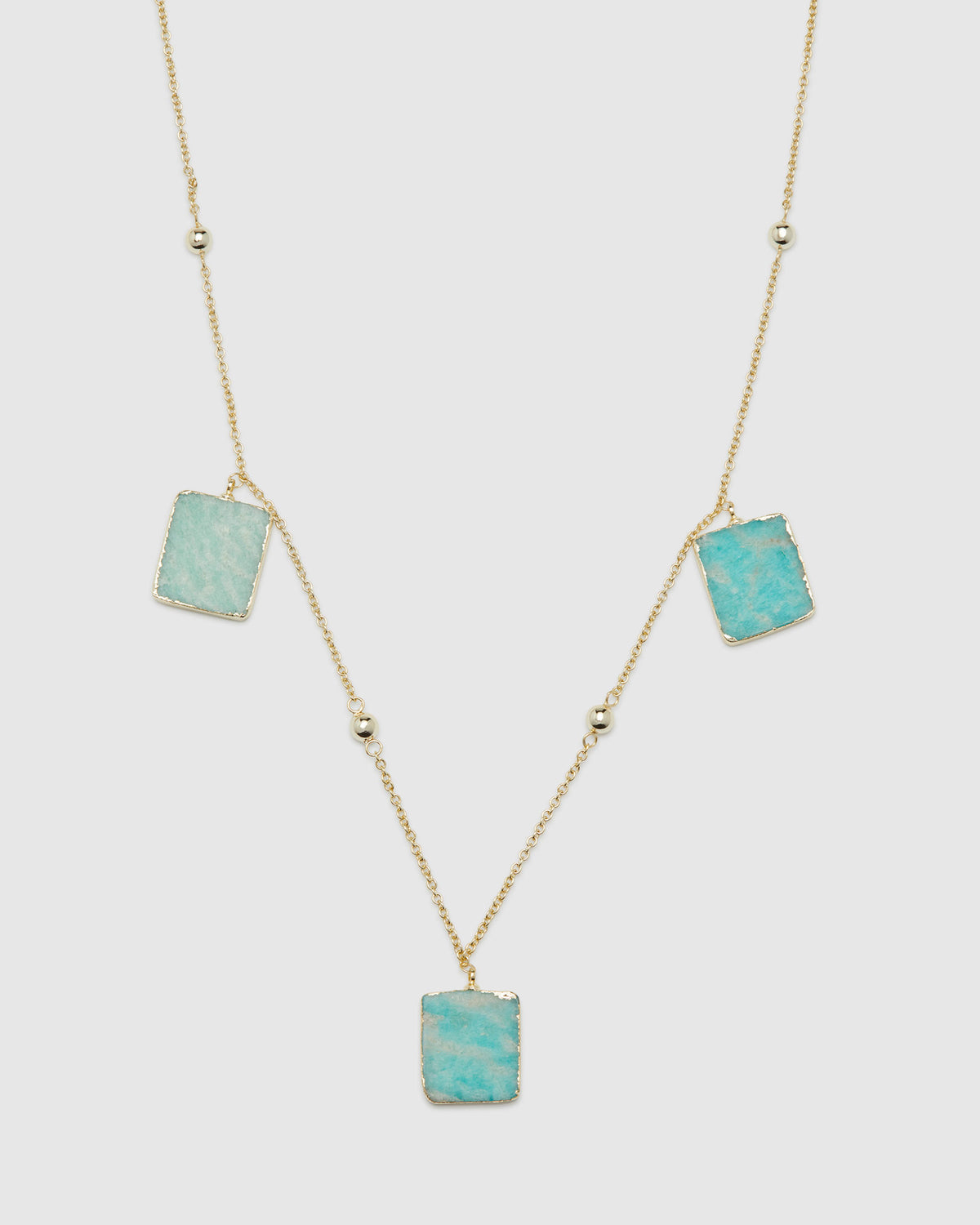 VIDA AMAZONITE STONE NECKLACE AQUA/PALE GOLD