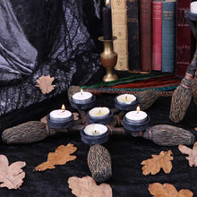 Load image into Gallery viewer, Nemesis Now Broomstick Pentagram Tea Light Holder 34cm Witchcraft & Wiccan Candle/Tealight Holder