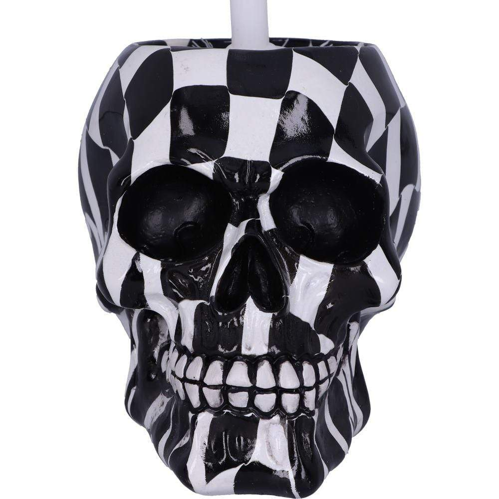 Brush With Death Harlequin 16.4cm Skull Toilet Brush Holder