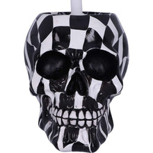 Load image into Gallery viewer, Brush With Death Harlequin 16.4cm Skull Toilet Brush Holder