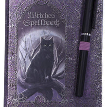 Load image into Gallery viewer, Nemesis Now Embossed Witches Spell Book A5 Journal With Pen P6 Cat Journal