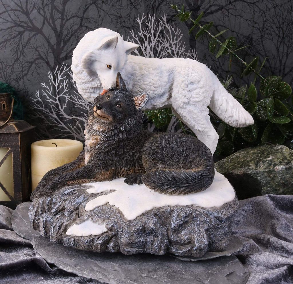 Snow Kisses 20.5cm Wolves Figurine Medium